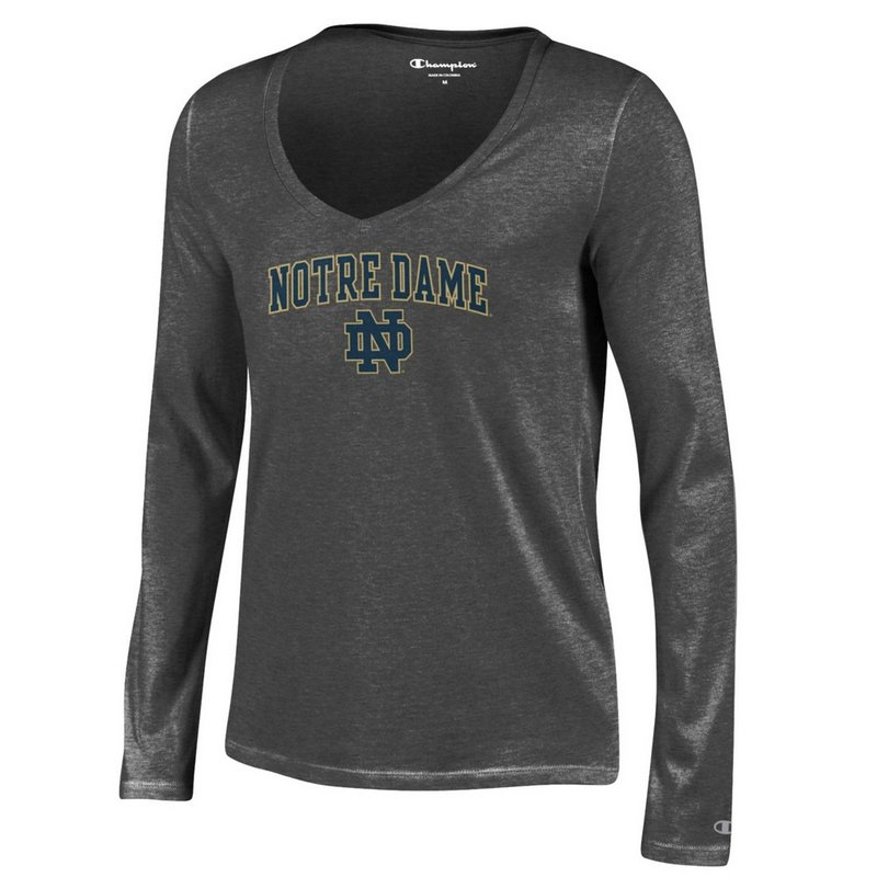 Notre Dame Fighting Irish Womens VNeck Long Sleeve TShirt Charcoal APC03051546