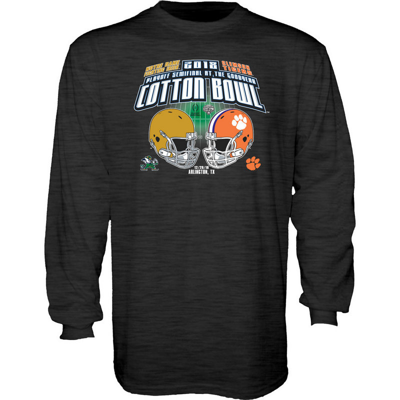 Notre Dame vs Clemson Cotton Bowl Long Sleeve Tshirt 2018 Charcoal Rumor-2T