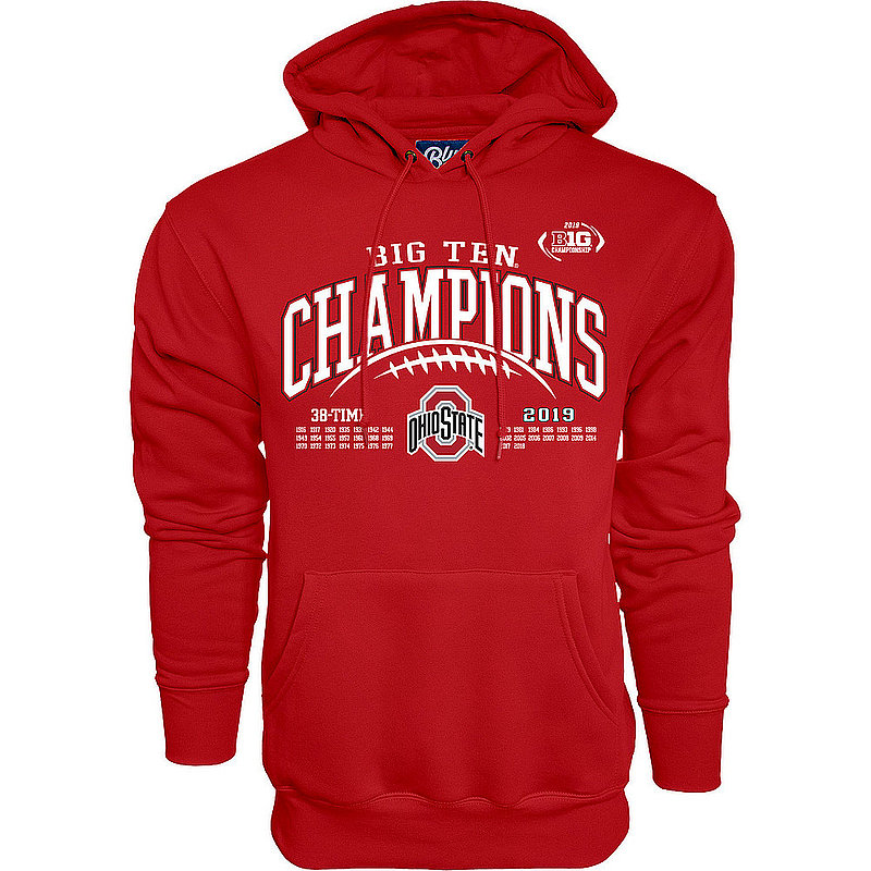 Ohio State Buckeyes Big Ten Champs Hooded Sweatshirt 2019 Laces GILT