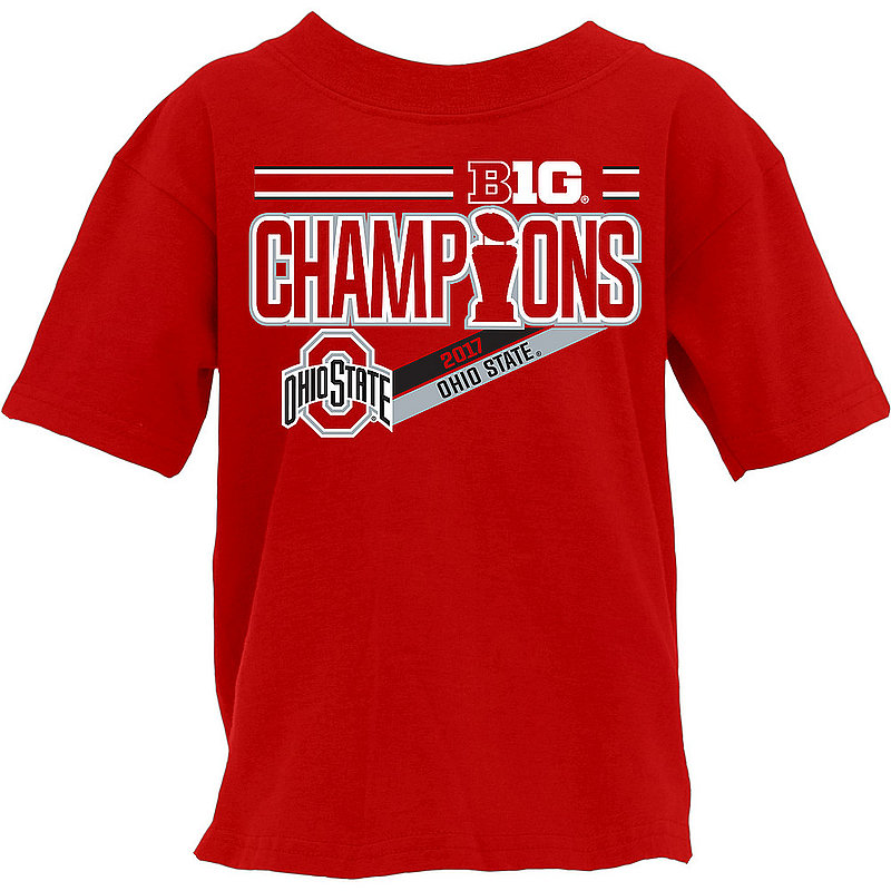 Ohio State Buckeyes Big Ten Champs Kids Tshirt 2017 Red NOT DONE B1017 FOOT LR CHP-OHS