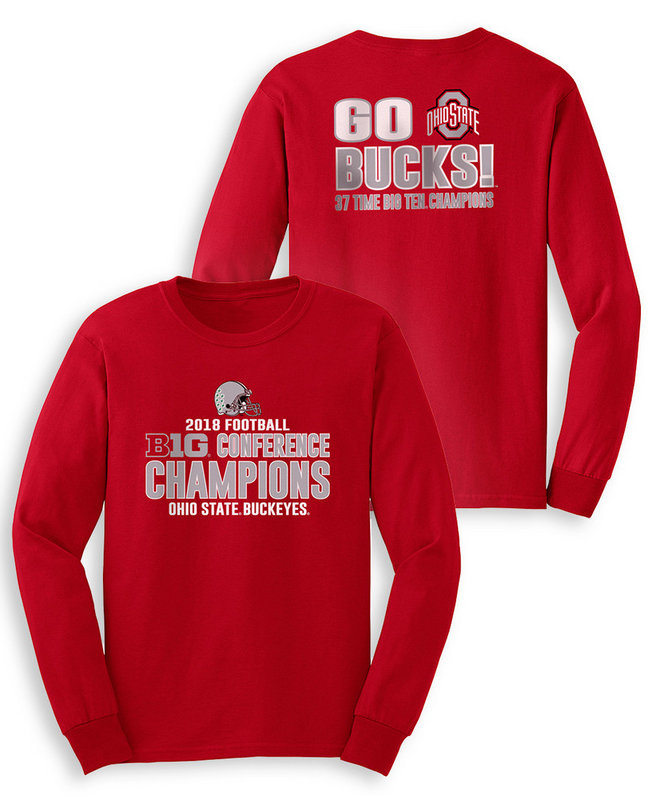 Ohio State Buckeyes Big Ten Champs Long Sleeve Tshirt 2018 Back Red SP25940&SP25941