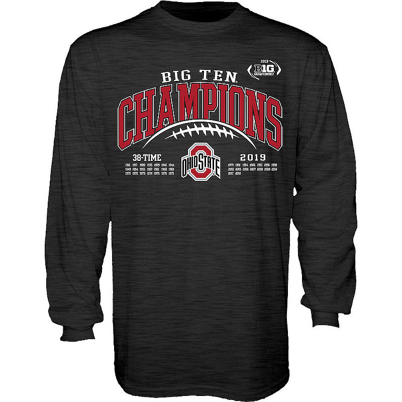 Ohio State Buckeyes Big Ten Champs Long Sleeve Tshirt 2019 Laces Charcoal GILT