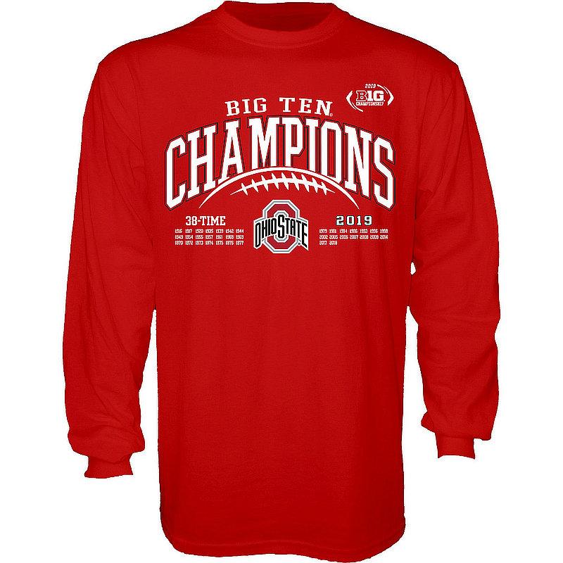 Ohio State Buckeyes Big Ten Champs Long Sleeve Tshirt 2019 Laces