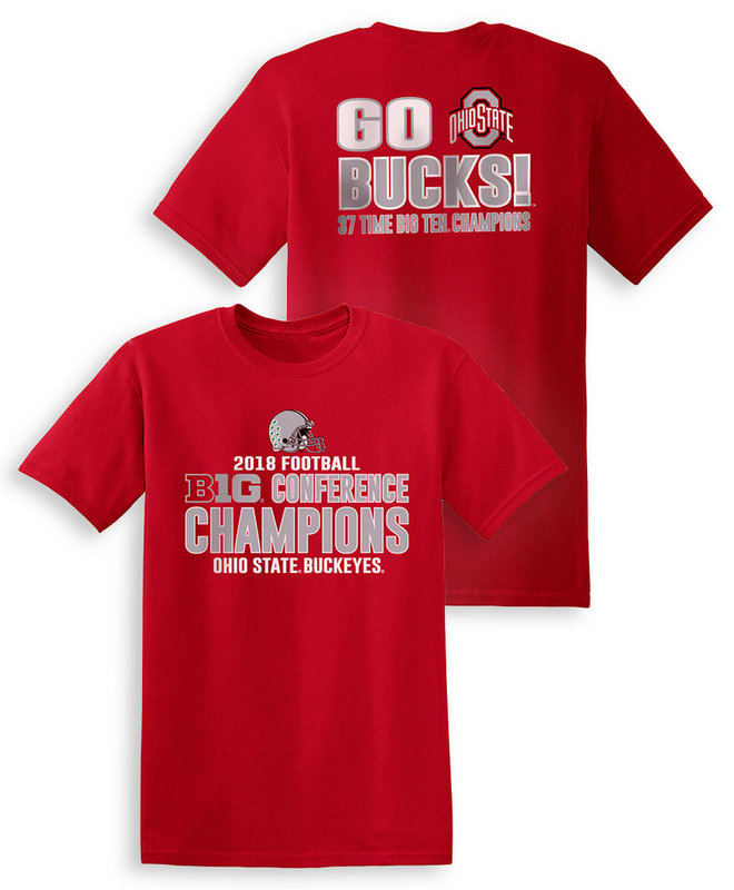 Ohio State Buckeyes Big Ten Champs Tshirt 2018 Back Red SP25940&SP25941