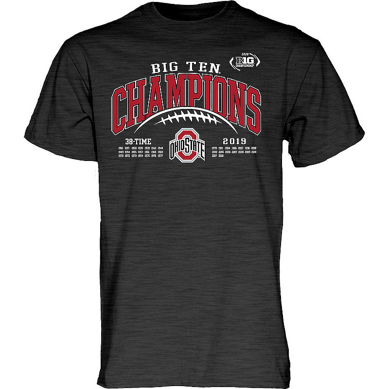 Ohio State Buckeyes Big Ten Champs Tshirt 2019 Laces Charcoal GILT
