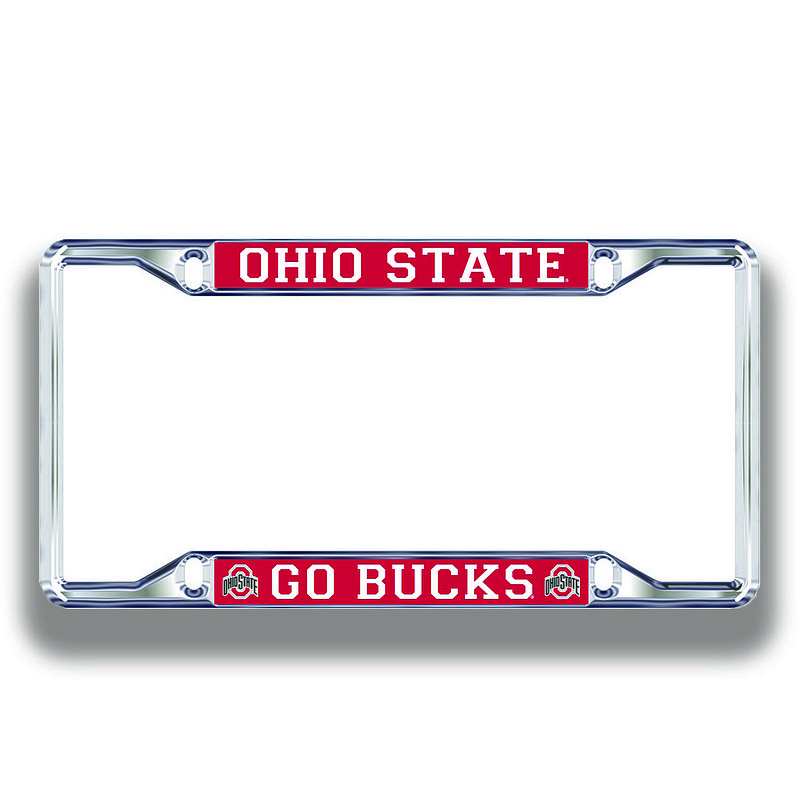 Ohio State Buckeyes License Plate Frame Silver 48192