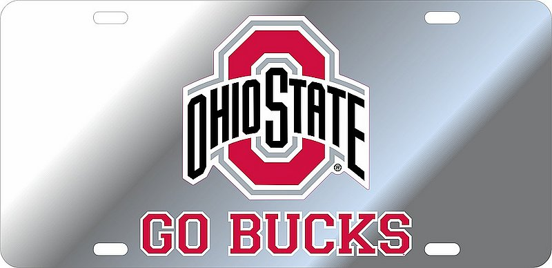 Ohio State Buckeyes License Plate Silver 48195