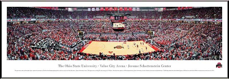 Ohio State Buckeyes Panoramic Picture Value City Arena Jerome Schottenstein Center Black Frame OSU1F
