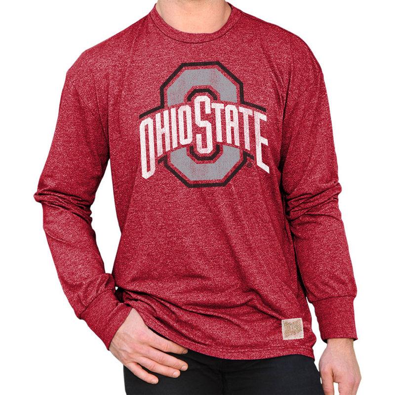Ohio State Buckeyes Retro Long Sleeve Tshirt Scarlet RB424