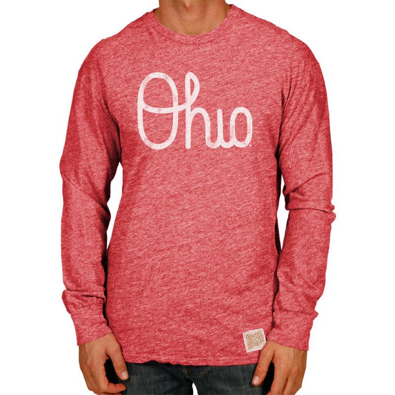 Ohio State Buckeyes Retro TriBlend Long Sleeve Tshirt Scarlet COSU025B