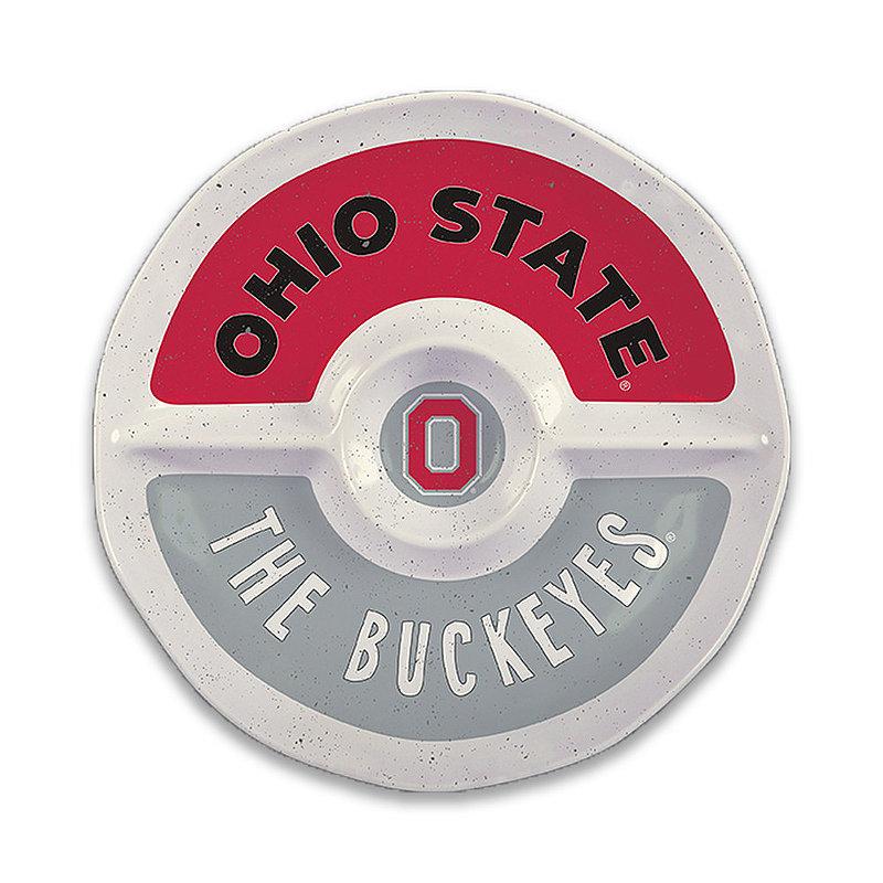 """Ohio State Buckeyes Round Serving Tray 15"""" OH ST MEL ROUND SEC 15"""