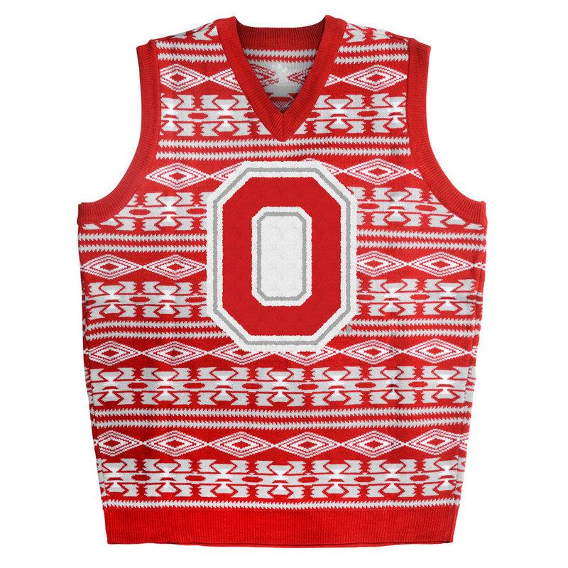 Ohio State Buckeyes Ugly Christmas Sweater Vest
