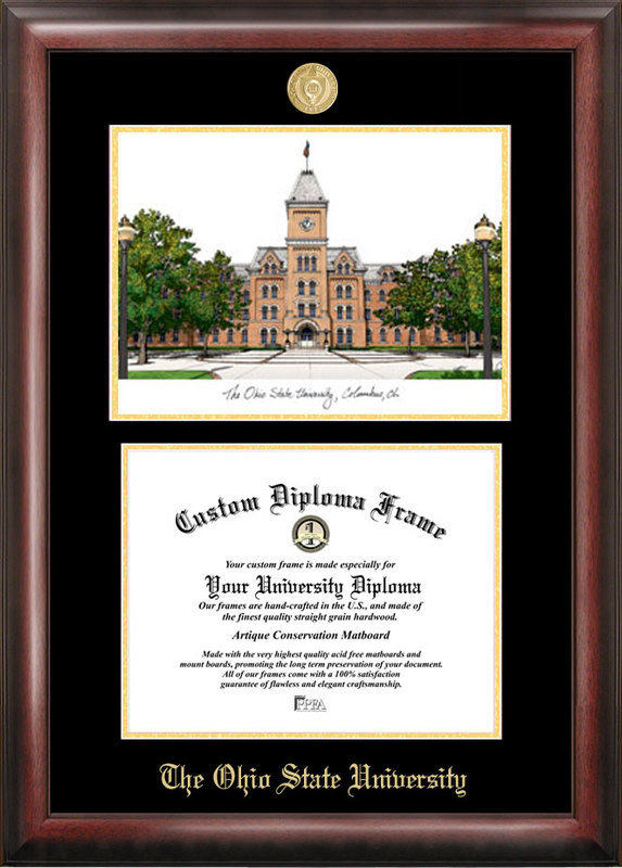 Ohio State University Gold Embossed Diploma Frame With Lithograph DSCI-oh987lged