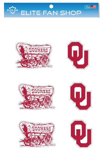 """Oklahoma Sooners 3"""" Vinyl Decal 6-Pack"""