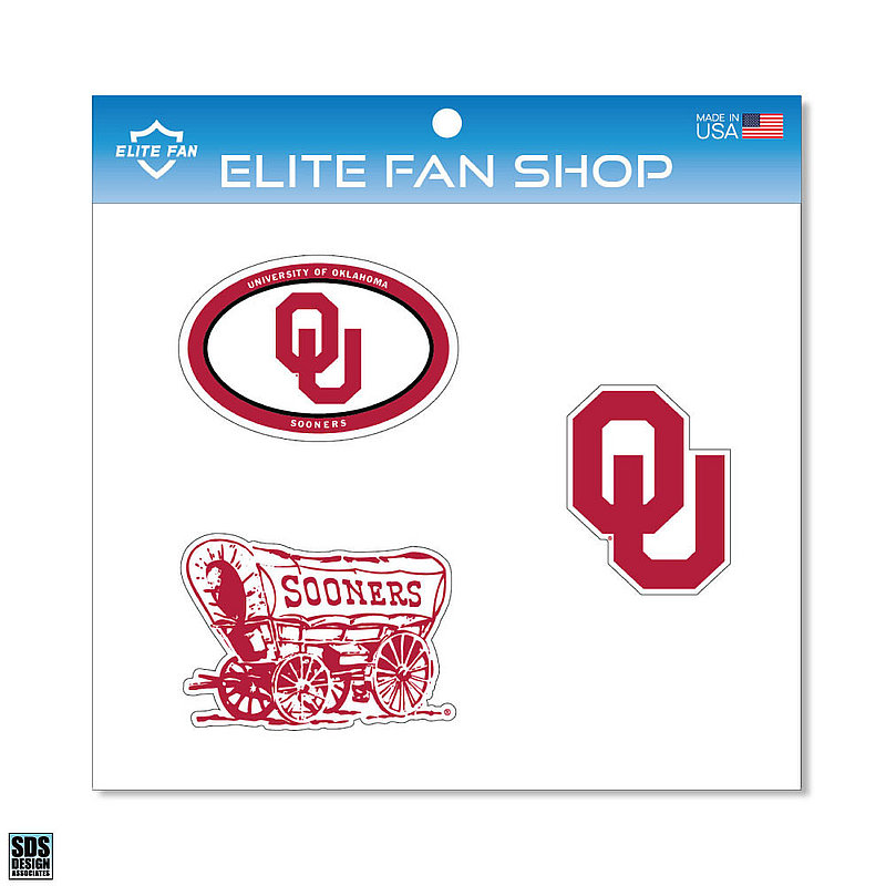 "Oklahoma Sooners 6"" Vinyl Decal 3-Pack DOU01"
