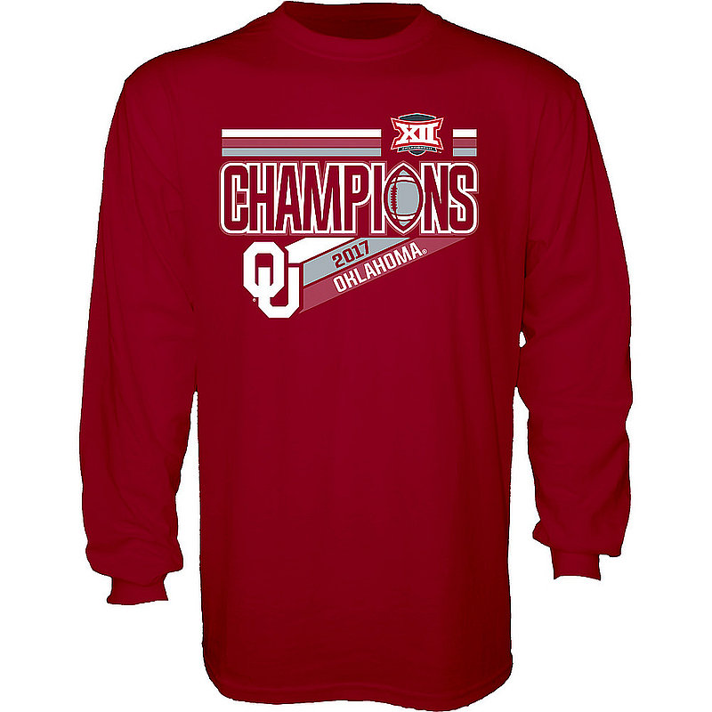 Oklahoma Sooners Big 12 Champs Long Sleeve Tshirt 2017 Crimson NOT DONE B1217 FOOT LR CHP-OKU