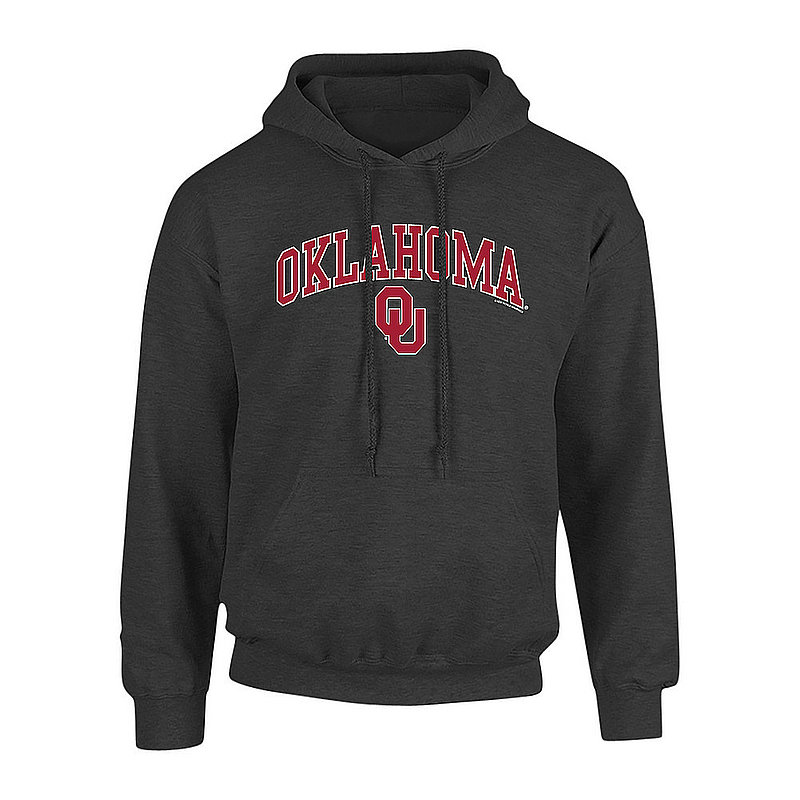 Oklahoma Sooners Hooded Sweatshirt Arch Over Plus Size 2X 3X 4X 5X Charcoal