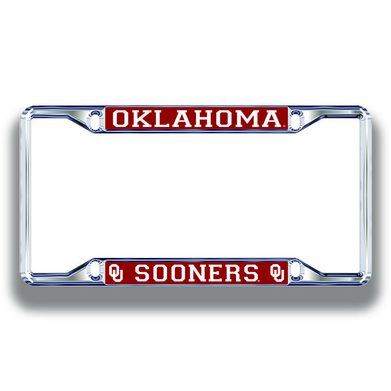 Oklahoma Sooners License Plate Frame Silver 17805