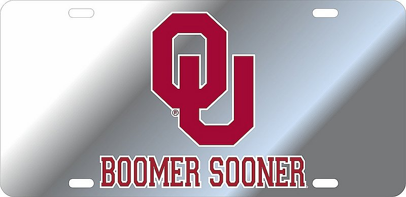 Oklahoma Sooners License Plate Silver 17808