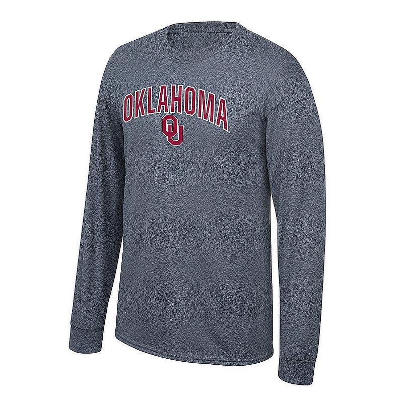 Oklahoma Sooners Long Sleeve Tshirt Arch Over Plus Size 2X 3X 4X 5X Charcoal