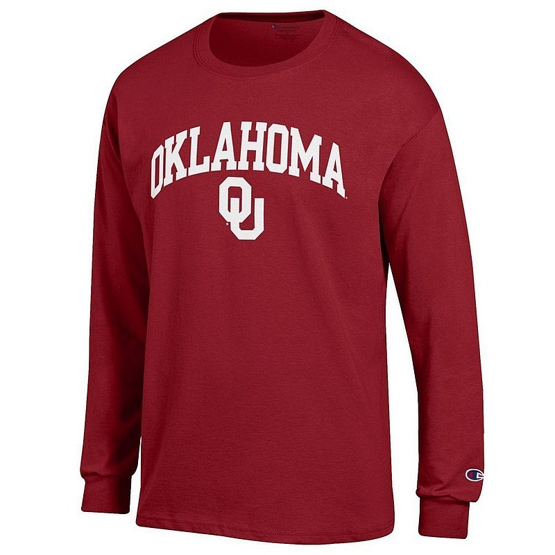 Oklahoma Sooners Long Sleeve Tshirt Varsity Crimson Arch Over APC02845688*
