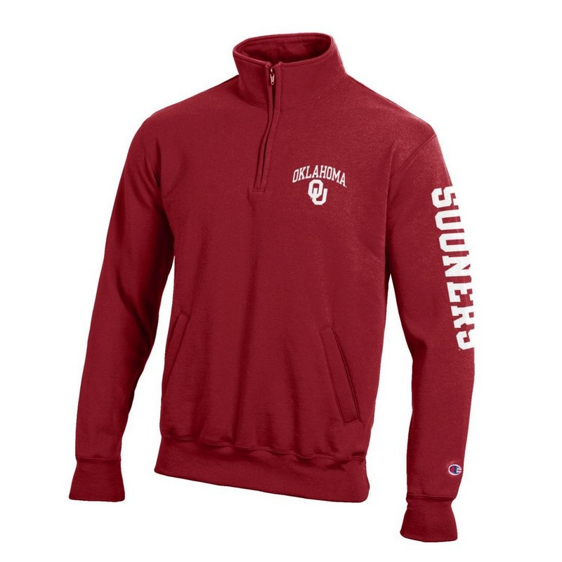Oklahoma Sooners Quarter Zip Sweatshirt Letterman Crimson APC02845699/APC02845700