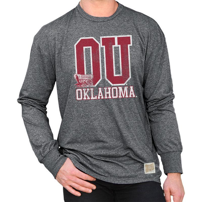Oklahoma Sooners Retro Long Sleeve TShirt Charcoal RB424_OKL019S6A_MTCH