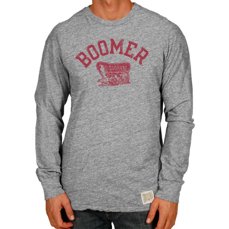 Oklahoma Sooners Retro TriBlend Long Sleeve Tshirt Gray