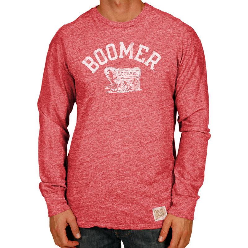 Oklahoma Sooners Retro TriBlend Long Sleeve Tshirt Red