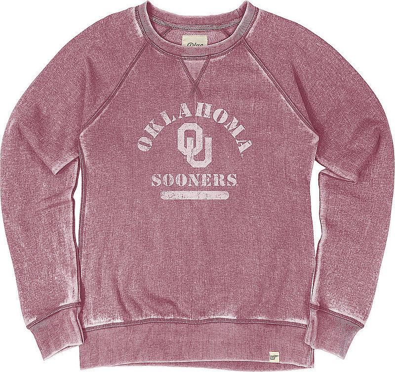 Oklahoma Sooners Womens Burnout Crewneck Sweatshirt Vintage S78G_JBWFC_CRANBRY