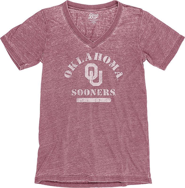 Oklahoma Sooners Womens Burnout TShirt Vintage S78G_JBWVT_CRANBRY