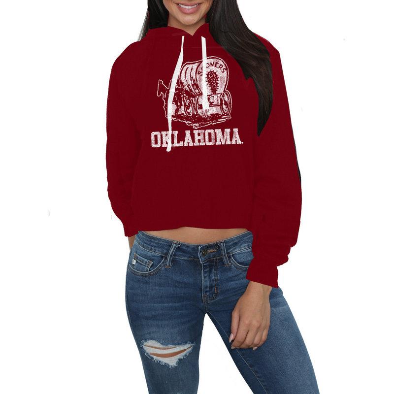 Oklahoma Sooners Womens Crop Hoodie Sweatshirt COKL105A_DRD