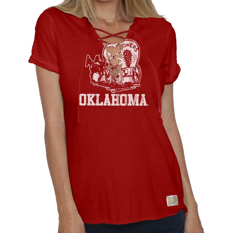 Oklahoma Sooners Womens Lace Up TShirt COKL105V_DRD
