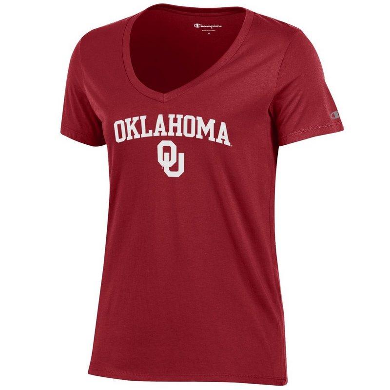 Oklahoma Sooners Womens VNeck TShirt Crimson APC03442647