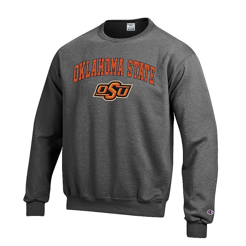Oklahoma State Cowboys Crewneck Sweatshirt Varsity Charcoal Arch Over APC03004811*