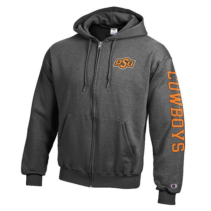 Oklahoma State Cowboys Full Zip Hooded Sweatshirt Letterman Charcoal APC02990806/APC02990808