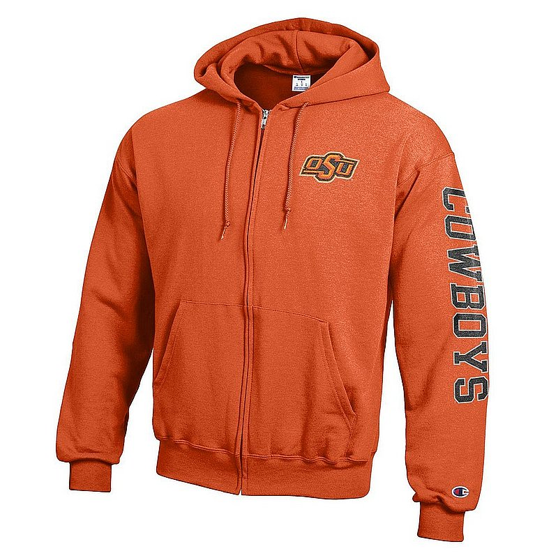 Oklahoma State Cowboys Full Zip Hooded Sweatshirt Letterman Orange APC02990804/APC02990806