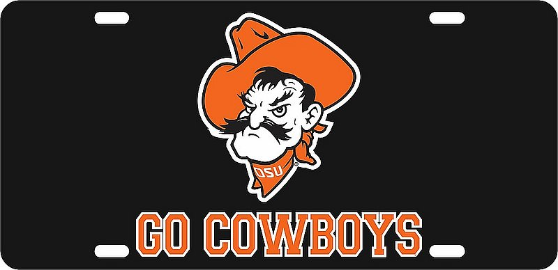 Oklahoma State Cowboys License Plate Black 21749