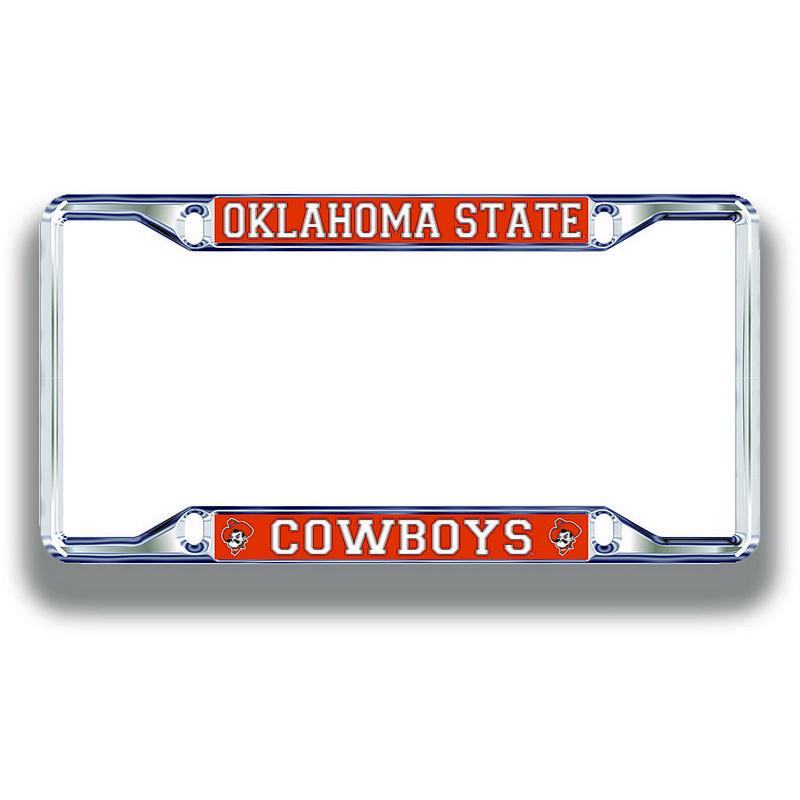 Oklahoma State Cowboys License Plate Frame Silver 21745