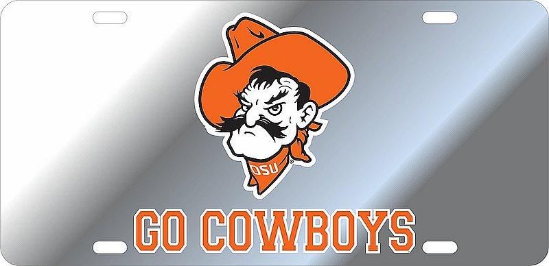 Oklahoma State Cowboys License Plate Silver 21748