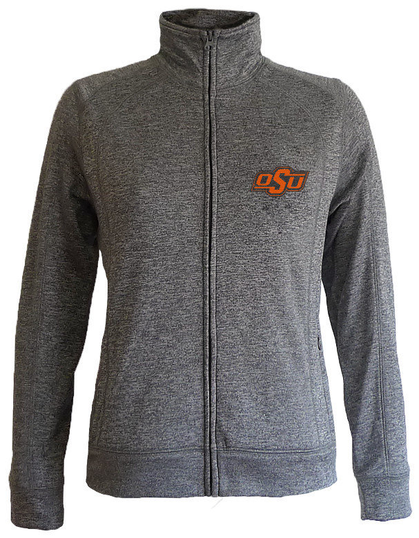 Oklahoma State Cowboys Women's Slim Full Zip Jacket Captain Charcoal OKSFT558