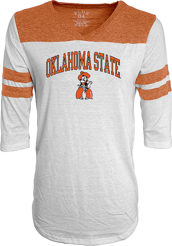 Oklahoma State Cowboys Womens 3/4th Sleeve Tshirt White C7J9-JTYK