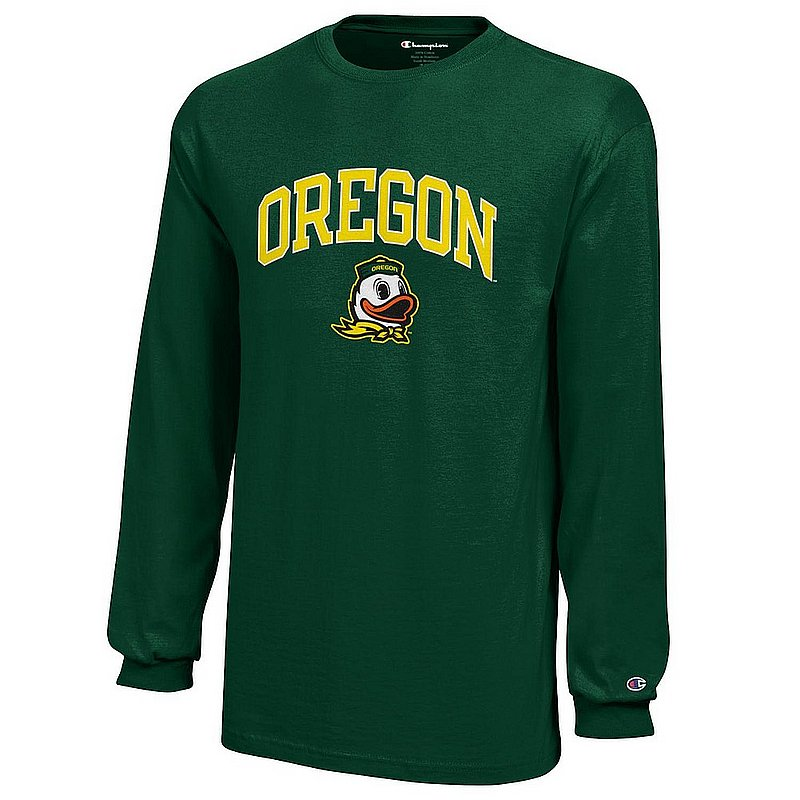Oregon Ducks Kids Long Sleeve Tshirt Arch Green APC03009049