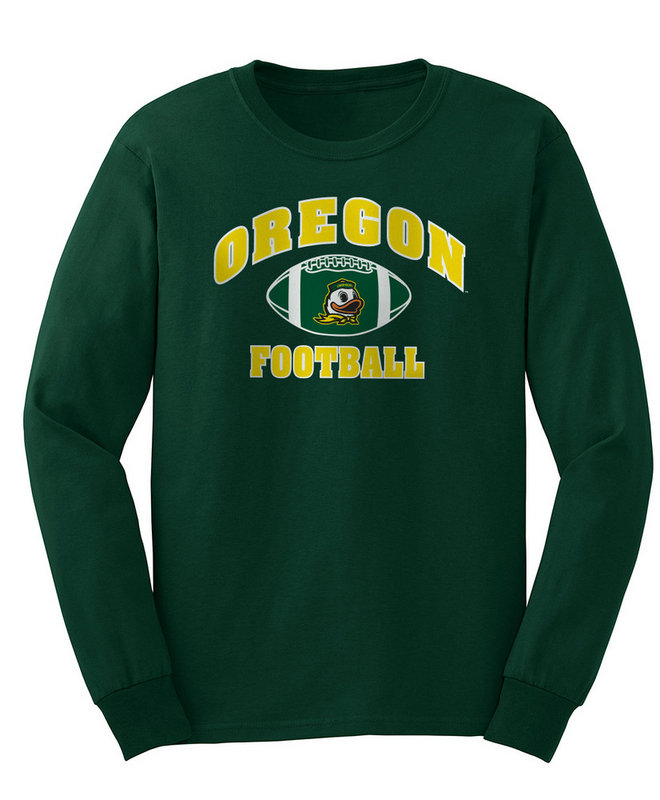 Oregon Ducks Long Sleeve Tshirt Green Football