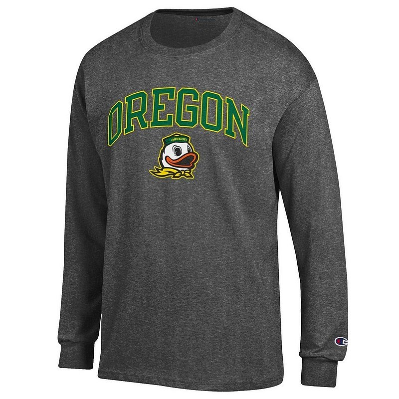 Oregon Ducks Long Sleeve Tshirt Varsity Charcoal Arch Over apc02886267*