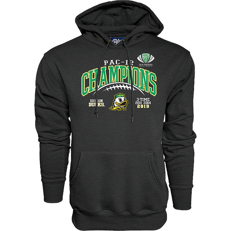Oregon Ducks Pac-12 Champs Hooded Sweatshirt 2019 Laces Charcoal GILT