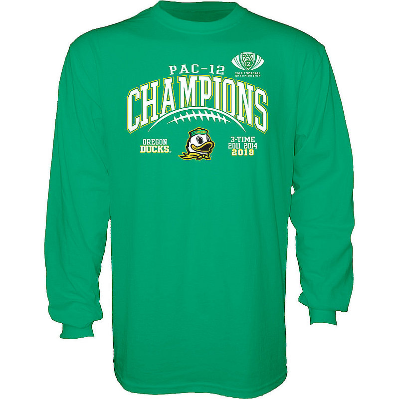 Oregon Ducks Pac-12 Champs Long Sleeve Tshirt 2019 Laces GILT