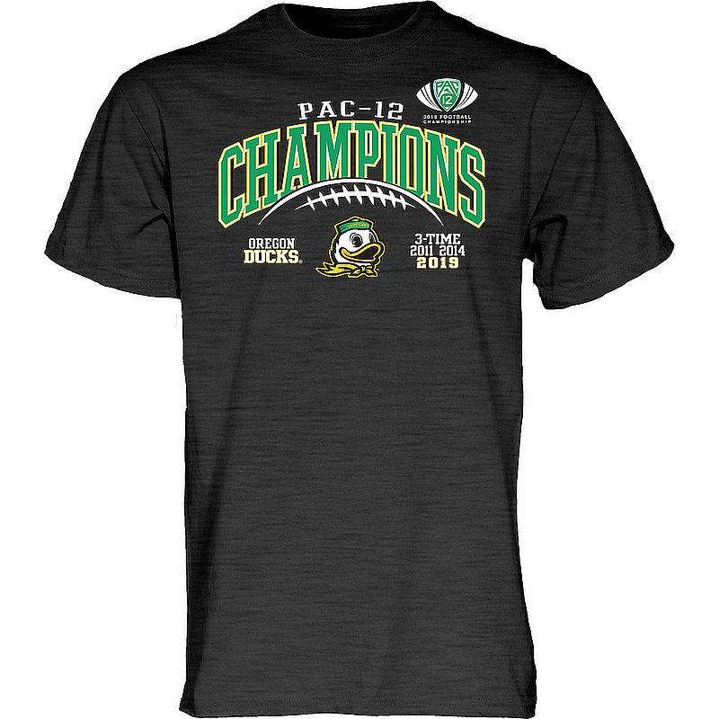 Oregon Ducks Pac-12 Champs Tshirt 2019 Laces Charcoal GILT