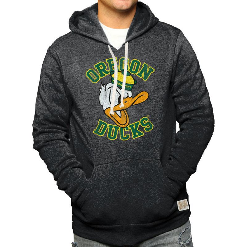 Oregon Ducks Retro Hooded Sweatshirt Charcoal