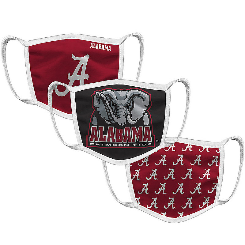 Original Retro Brand Alabama Crimson Tide Retro Face Covering 3-Pack ALAMSK101A-ALAMSK106A-ALAMSK127A (Original Retro Brand)
